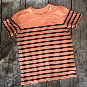 Orange & Navy Stripe Short Sleeve Pocket Shirt